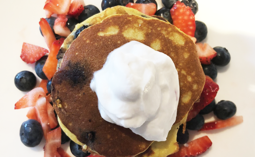 Red, White, and Blue Almond Meal Pancakes